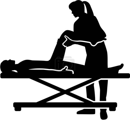 Female physical therapist helping patient silhouette