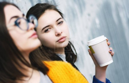 Young girls with coffee