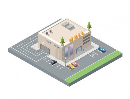 Vector isometric low poly mall, shopping centre with underground car parking.