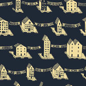 Vector christmas seamless pattern with hand drawn houses and ornaments Can be printed and used as wrapping paper wallpaper textile card EPS 10