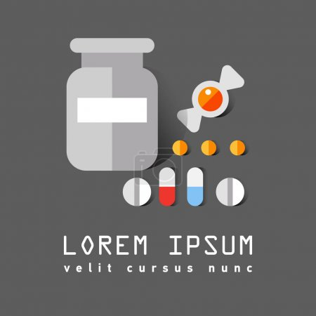Illustration for Vector flat icon of medical bottle of pills, vitamins, capsules, lozenges. Medication care for the human body. Vitamin course - Royalty Free Image