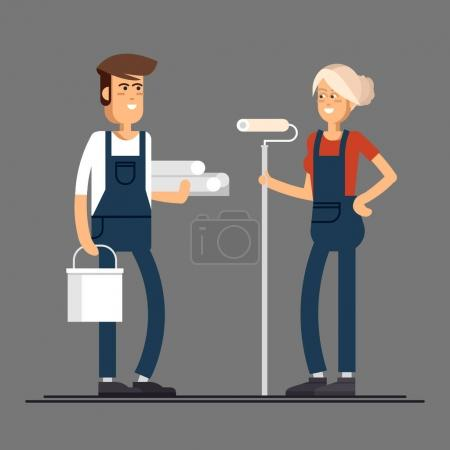 Couple of house painter vector flat characters with paint equipment