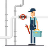 Cool vector plumber male character standing holding tool box and plumber wrench Friendly smiling adult plumbing professional person ready for work flat design isolated