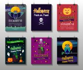 Halloween Posters set Flat colorful illustration with pumpkin ghost skull with crossbones owl pot with potion candiesmoon Card or invitation