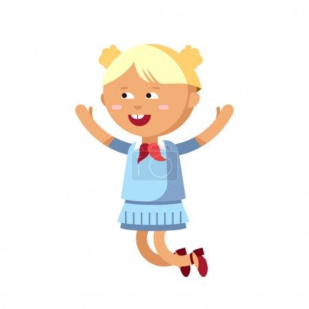Illustration pour Jolie fille amusez-vous. Illustration de personnage féminin. Enfant en mouvement. Fille joyeuse a sauté. Personnage détaillé isolé en fond blanc . - image libre de droit
