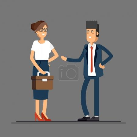 Photo for Lovely couple of businessmen smiling isolated. Businessman and businesswoman characters standing. Female and male friendly office workers couple - Royalty Free Image