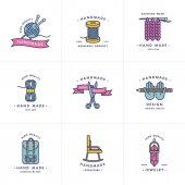 Handmade colorful line logos set Handmade linear badges or handmade outline labels