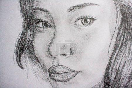 Photo pour Dessinés à la main le dessin d'une belle jeune fille. Dessinée avec un crayon - image libre de droit