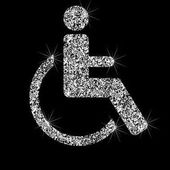 Silver disabled icon in armchair Effect of diamond Transparent