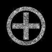 Cross in the circle a brilliant icon Medical icon Effect of di