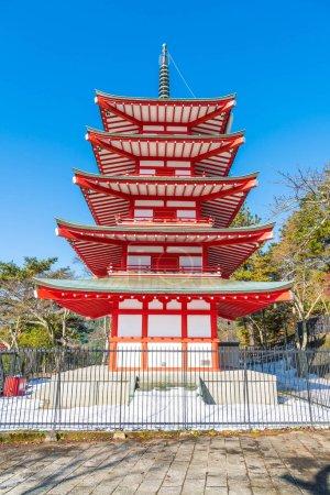 Red pagoda, Chureito, is landmark near Fuji mountain in Kawaguch