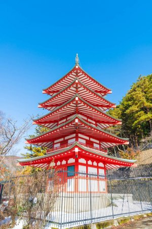 Red pagoda, Chureito, is landmark near Fuji mountain in Kawaguch