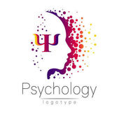 Modern head logo of Psychology Profile Human Letter Psi Creative style Logotype in vector Design concept Brand company Violet color isolated on white background Symbol for web print