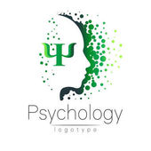 Modern head logo of Psychology Profile Human Creative style Logotype in vector Design concept Brand company Green color isolated on white background Symbol for web print