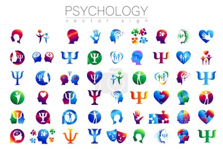 Illustration pour Signe de tête moderne Ensemble de psychologie. Profil humain. Style créatif. Symbole en vecteur. Concept de design. Entreprise de marque. Vert bleu orange violet isolé sur fond blanc. Icône pour le web - image libre de droit
