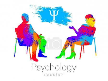 The psychologist and the client. Psychotherapy. Psycho therapeutic session. Psychological counseling. Man woman talking while sitting. Silhouette.Rainbow brush profile. Design concept sign modern