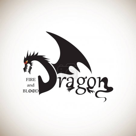 Dragon from letters on a light background.