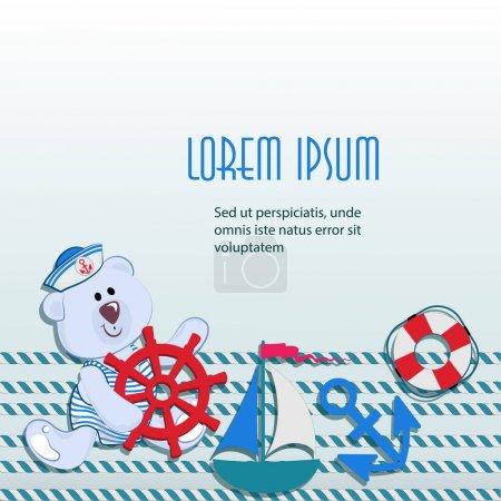 Illustration pour Affiche de mer avec petit ours en peluche polaire avec volant. Le concept de conception de matériaux d'emballage pour jouets, vêtements pour enfants à thèmes marins, offres de rabais et de vente . - image libre de droit