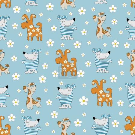 Illustration pour Chiens de dessin animé drôles. Modèle sans couture. Image de fond colorée avec des animaux mignons. Conception pour textiles pour enfants, emballages de matériaux d'emballage . - image libre de droit
