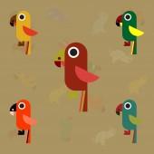 baby parrots set