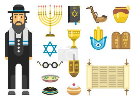 Jew icons vector set.