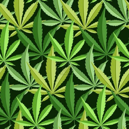 Illustration for Green marijuana background  illustration. marihuana background leaf pattern repeat seamless repeats. Marijuana leaf background herb narcotic textile pattern. Different  patterns. - Royalty Free Image