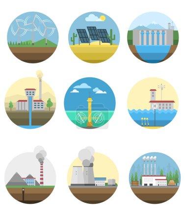 Illustration pour Énergie alternative et centrale d'énergie écologique. Nature renouvelable écoénergie environnement énergie alternative. Source d'énergie alternative centrale électrique source d'énergie éco ensemble vectoriel illustration - image libre de droit