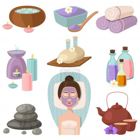Illustration for Vector illustrations of beautiful woman spa treatment, beauty procedures, wellness doodle icons. Herbal cosmetics aroma candles stones towels and lotus flower. - Royalty Free Image