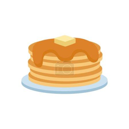Illustration pour Crêpes au sirop et aux baies concept vectoriel illustration. Délicieux gâteau fraîchement beurre plat nutritionnel cuisine ronde. Miel du matin cuisine traditionnelle . - image libre de droit