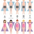 Vector illustration of different body shape types. Male and female standing beauty figure cartoon model. Graphic inverted proportions adult constitution.