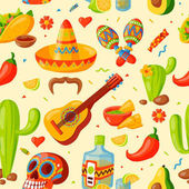 Mexico icons seamless pattern vector illustration Latino party nachos taco spesialy food Traditional graphic travel tequila alcohol fiesta drink Ethnicity aztec maraca sombrero