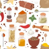 Seasoning food herbs natural vector ingredient seamless pattern