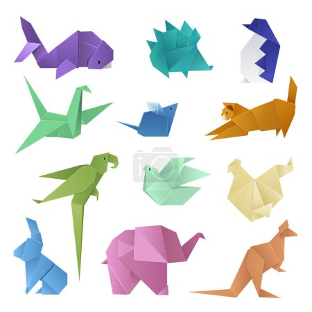Illustration for Origami style of different paper animals geometric game japanese toys design and asia traditional decoration hobby game vector illustration. Abstract creative wing craft asian shape handmade concept. - Royalty Free Image