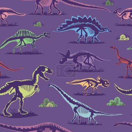 Dinosaure vintage couleur transparente vecteur de fond