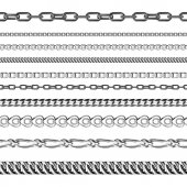 Chains link strength connection vector seamless pattern of metal linked parts and iron equipment protection strong sign shiny design background
