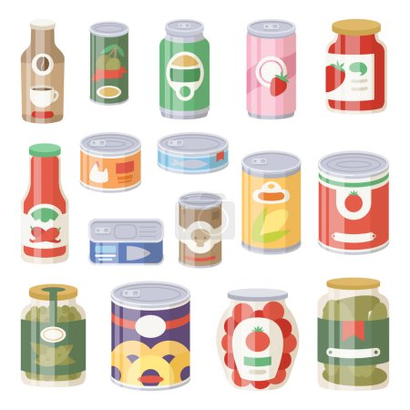 Illustration for Collection of various tins canned goods food metal container grocery store and product storage aluminum flat label conserve vector illustration. Meal preserve shiny steel cylinder nutrition. - Royalty Free Image