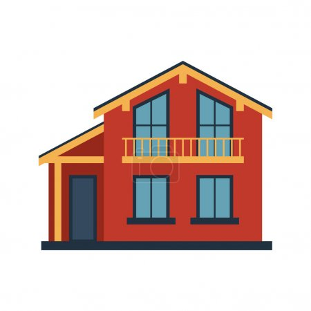 House front view vector illustration building architecture home construction estate residential property roof apartment housing cottage