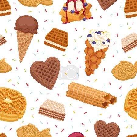 Illustration pour Différents biscuits gaufres gâteaux et chocolat délicieux dessert crème collation croustillant pâtisserie vecteur alimentaire motif sans couture - image libre de droit