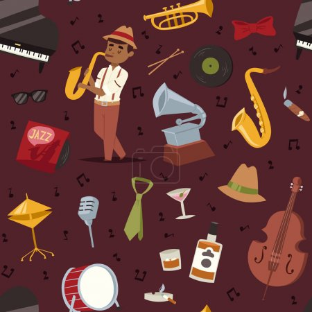 Fashion jazz band music party symbols art performance and musical instrument man character sound concert acoustic blues bass design vector seamless pattern.