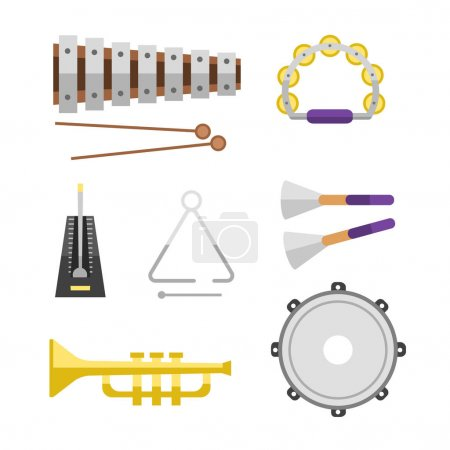 Different music instruments vector musical guitar violin and sound classical concert trumpet collection entertainment composition illustration.