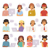 Call center agents cartoon business people with headphones team talking on phone with customers and vector characters customer care operators