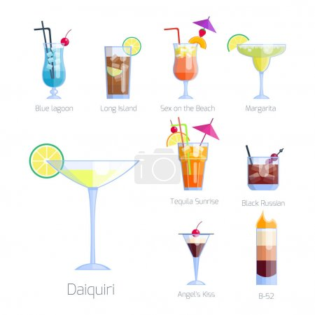 Set of alcoholic cocktails isolated fruit cold drinks tropical cosmopolitan freshness collection and party alcohol sweet tequila vector illustration.