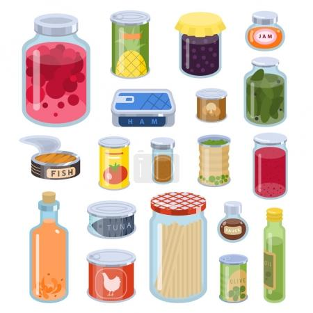 Illustration for Collection of various tins canned goods food metal and glass container vector illustration - Royalty Free Image
