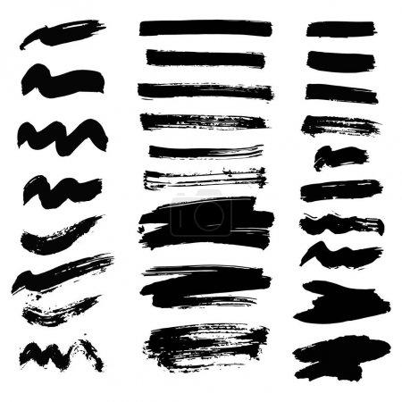 Illustration for Vector set of ink splashes blots splatter collection grunge design black white and art messy backdrop color dirty liquid spatter graphic silhouette illustration. Artistic dot dirt pattern spatter. - Royalty Free Image