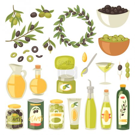 Olive vector oliveoil bottle with virgin oil and olivaceous ingredients for vegetarian food illustration set of olivebranch or olivet for wreath isolated on white background