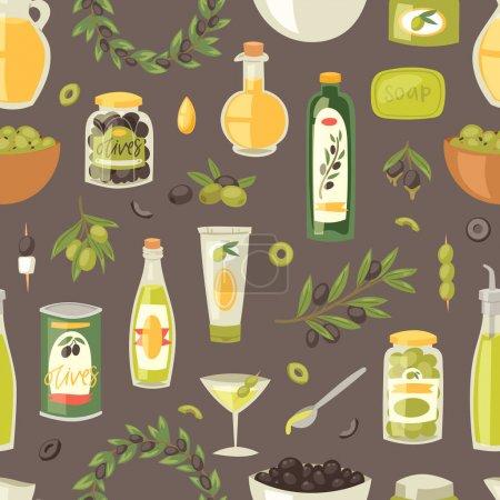 Olive vector oliveoil bottle with virgin oil and olivaceous ingredients for vegetarian food illustration set of olivebranch or olivet for wreath seamless pattern background