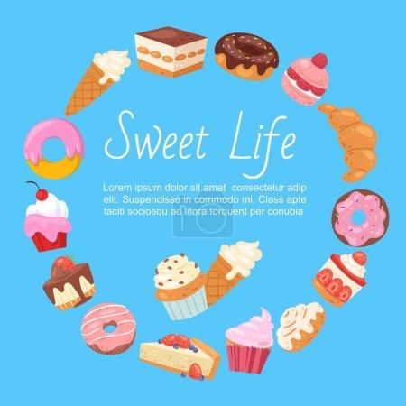 Illustration pour Modèle vectoriel dessiné à la main de menu avec desserts, bonbons et produits de boulangerie. Design avec gâteau, cupcake, beignets, glace et muffins, croissant pour affiche caf . - image libre de droit