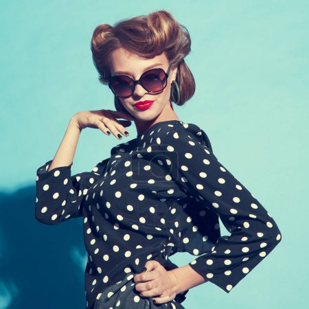 young woman in retro style