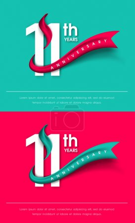 Anniversary emblems 11 anniversary template design...