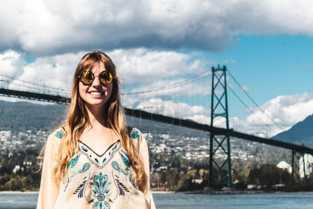 Photo for Photo of Girl at Lions Gate Bridge in Vancouver, BC, Canada - Royalty Free Image